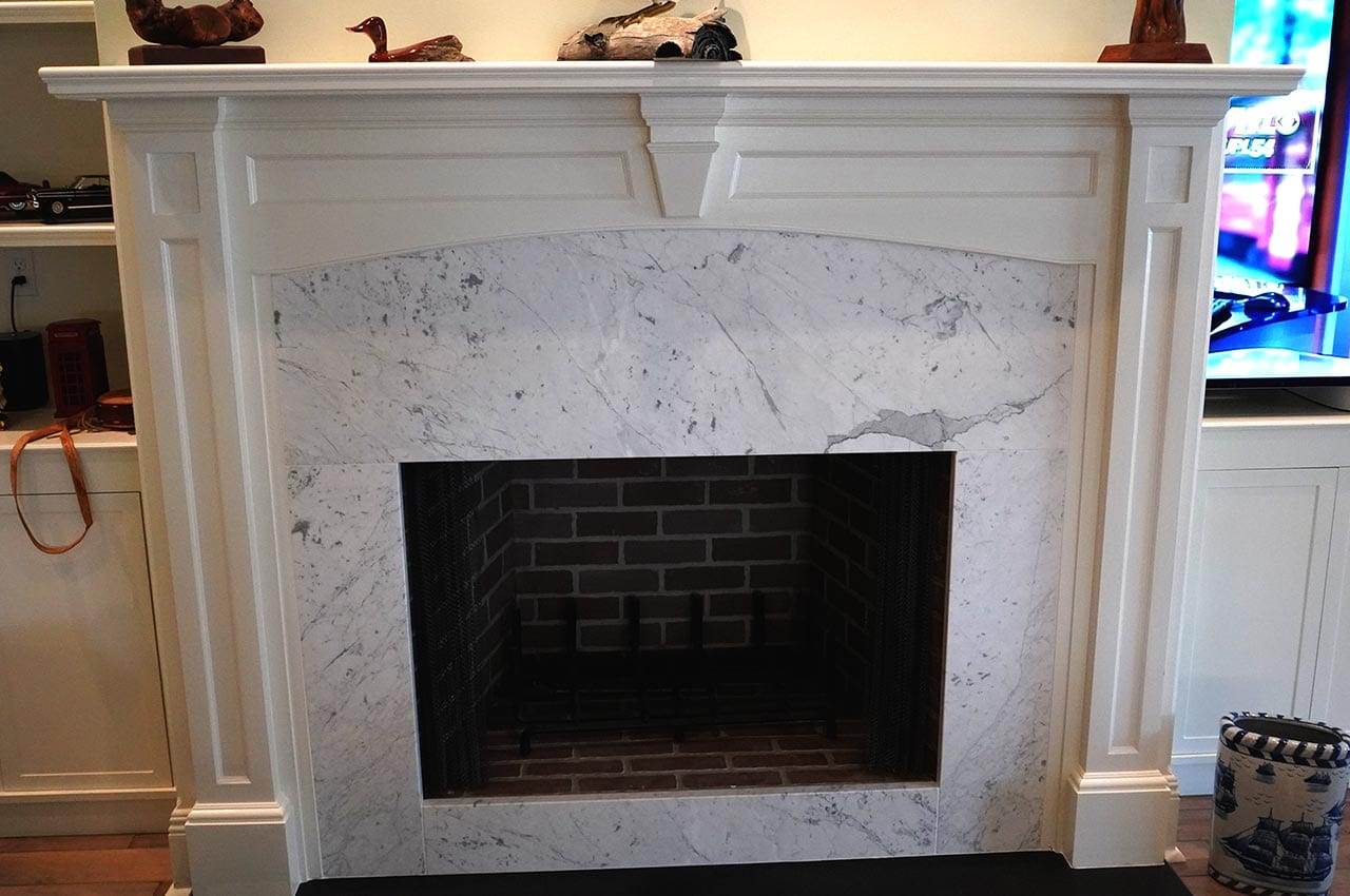 Granite and Wood Fireplace